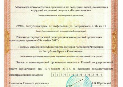 свидетельство о гос.регистрации АНО