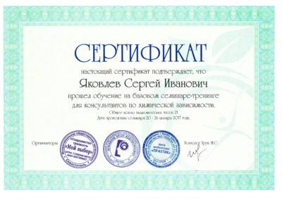 Сертификат Яковлев